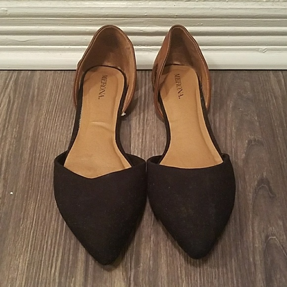 new high sneakers for cheap for whole family Merona Shoes   Black And Brown Pointed Toe Flats Dorsay   Poshmark